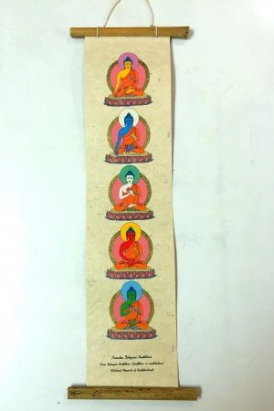 "Inspirational Scroll – print of ""The Pancha Dhyani Buddhas"""