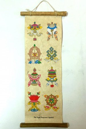 "Inspirational Scroll – print of ""The Eight Auspicious Symbols of Nepal"""