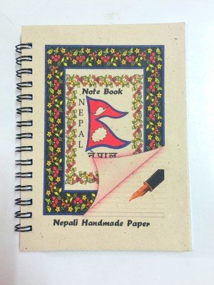 "Small Handmade Notebook – ""Flag of Nepal"""