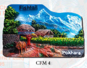 "Ceramic Fridge Magnet: ""Pokhara 1"" (CFM4)"