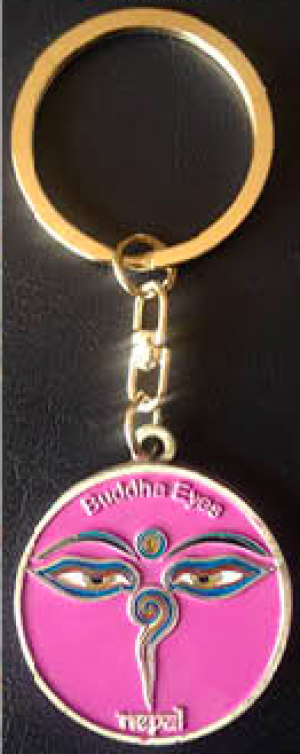 "Keychain - ""Pink Eye of the Buddha"""