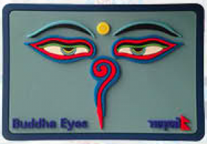 "Washable Rubber Magnet – ""Square Buddha Eye (Blue)"""