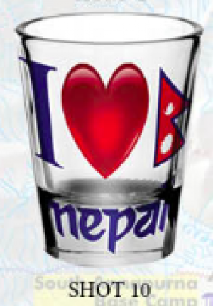 "Shot Glass: ""1 Love Nepal"""