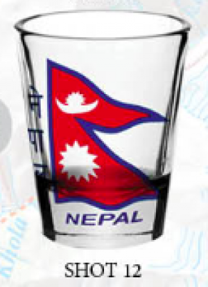 "Shot Glass: ""Nepal Flag 1"""
