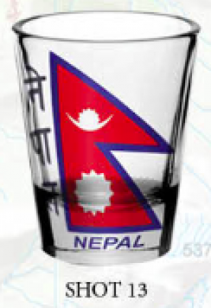 "Shot Glass: ""Nepal Flag 2"""