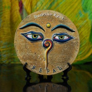 Decorative Buddha Eyes Ceramic Plate 1