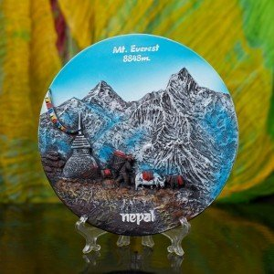 Decorative Mt. Everest 8848m. Ceramic Plate