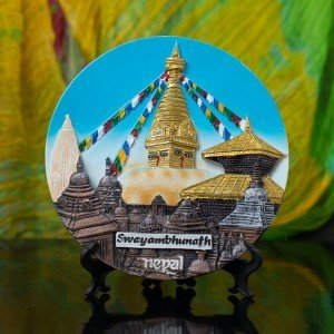 Decorative Swayambhunath Ceramic Plate